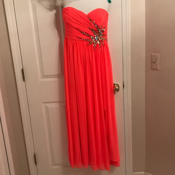 Debs Red Strapless Prom Dress